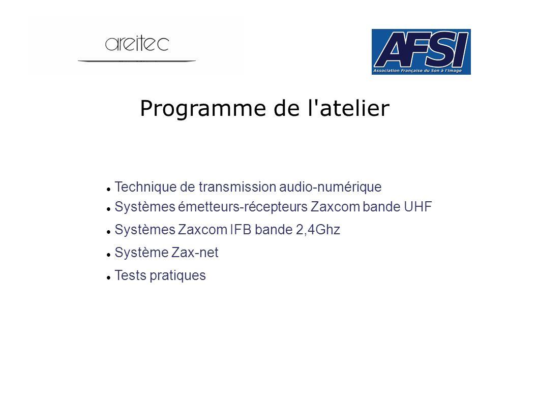 Programme de l'atelier Technique de transmission audio-numérique Systèmes émetteurs-récepteurs Zaxcom bande UHF Systèmes Zaxcom IFB bande 2,4Ghz Systè