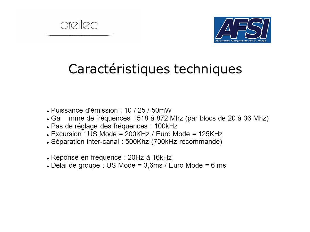 Caractéristiques techniques Puissance d'émission : 10 / 25 / 50mW Gamme de fréquences : 518 à 872 Mhz (par blocs de 20 à 36 Mhz) Pas de réglage des fr