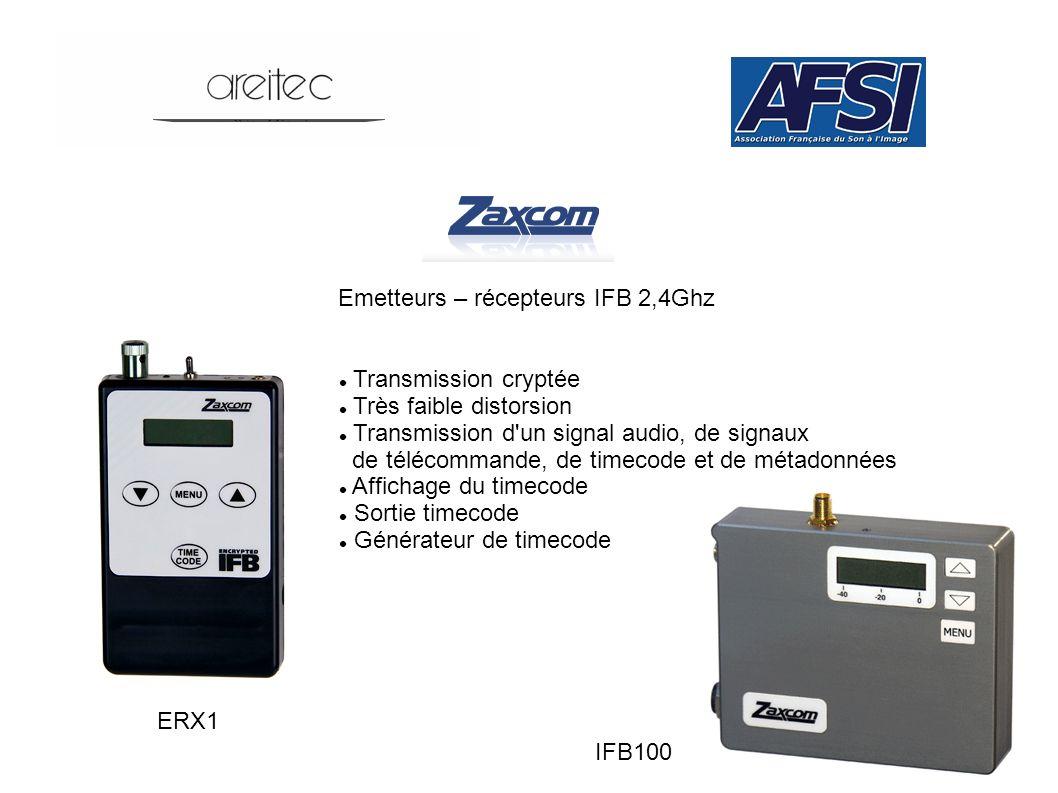 Emetteurs – récepteurs IFB 2,4Ghz IFB100 ERX1 Transmission cryptée Très faible distorsion Transmission d'un signal audio, de signaux de télécommande,