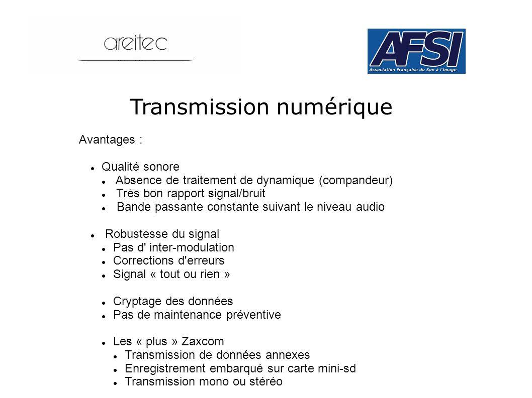 Transmission numérique Avantages : Qualité sonore Absence de traitement de dynamique (compandeur) Très bon rapport signal/bruit Bande passante constan