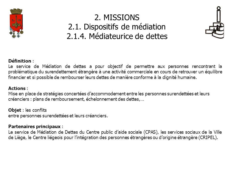 2. MISSIONS 2.1. Dispositifs de médiation 2.1.4. Médiateurice de dettes Définition : Le service de Médiation de dettes a pour objectif de permettre au