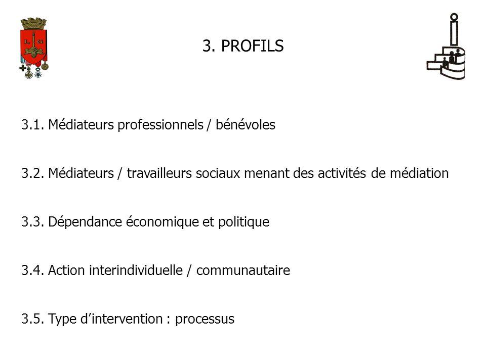 3. PROFILS 3.1. Médiateurs professionnels / bénévoles 3.2. Médiateurs / travailleurs sociaux menant des activités de médiation 3.3. Dépendance économi