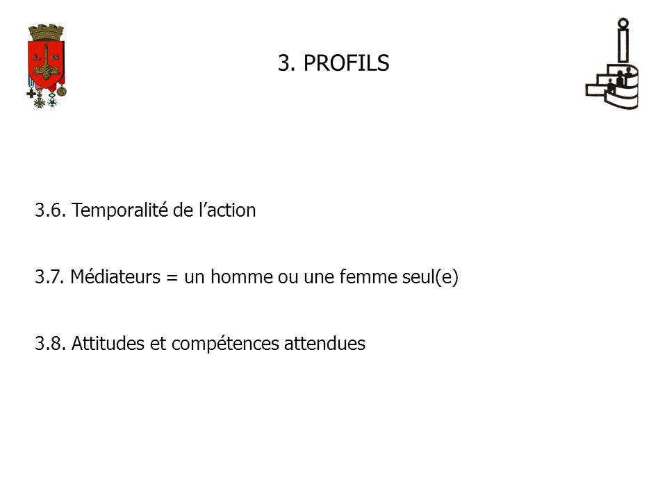3. PROFILS 3.6. Temporalité de laction 3.7. Médiateurs = un homme ou une femme seul(e) 3.8. Attitudes et compétences attendues