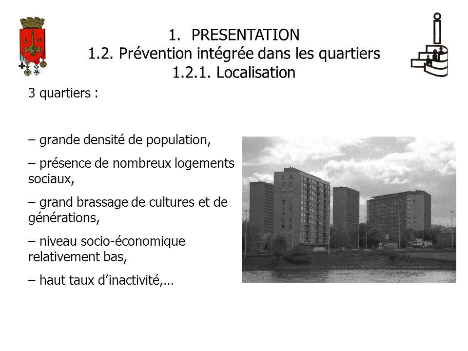 1.PRESENTATION 1.2. Prévention intégrée dans les quartiers 1.2.1. Localisation 3 quartiers : – grande densité de population, – présence de nombreux lo