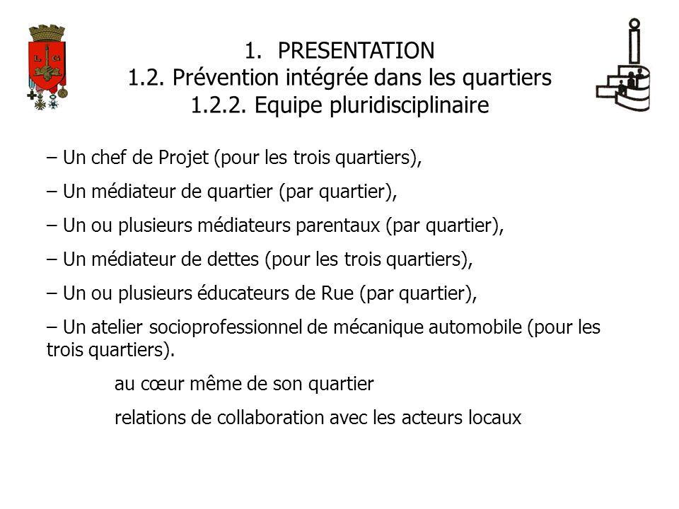 1.PRESENTATION 1.2. Prévention intégrée dans les quartiers 1.2.2. Equipe pluridisciplinaire – Un chef de Projet (pour les trois quartiers), – Un média