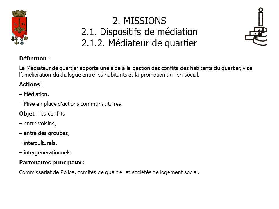 2. MISSIONS 2.1. Dispositifs de médiation 2.1.2. Médiateur de quartier Définition : Le Médiateur de quartier apporte une aide à la gestion des conflit