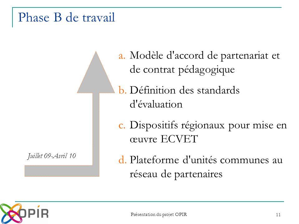 Présentation du projet OPIR 11 Phase B de travail a.Modèle d'accord de partenariat et de contrat pédagogique b.Définition des standards d'évaluation c