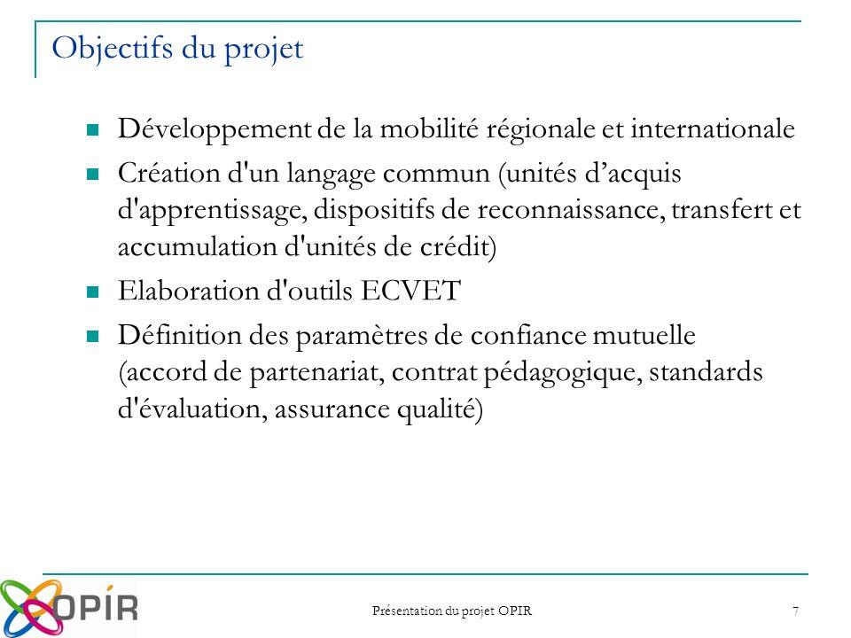 Présentation du projet OPIR 7 Objectifs du projet Développement de la mobilité régionale et internationale Création d'un langage commun (unités dacqui