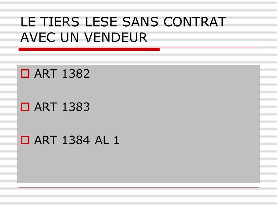 LE TIERS LESE SANS CONTRAT AVEC UN VENDEUR ART 1382 ART 1383 ART 1384 AL 1
