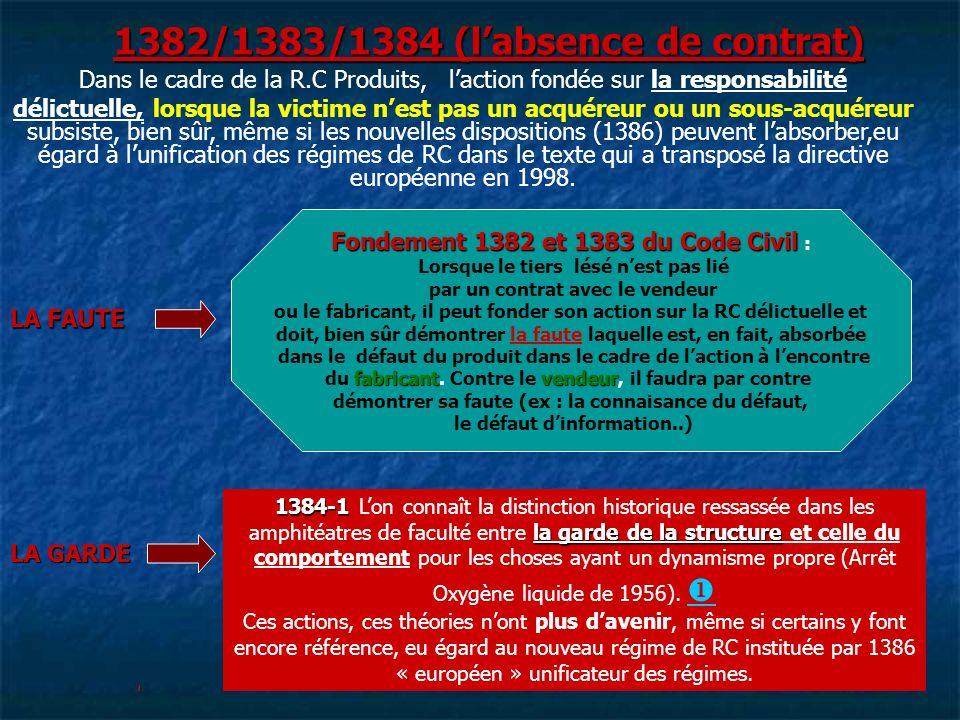 1382/1383/1384 (labsence de contrat) Fondement 1382 et 1383 du Code Civil Fondement 1382 et 1383 du Code Civil : Lorsque le tiers lésé nest pas lié pa
