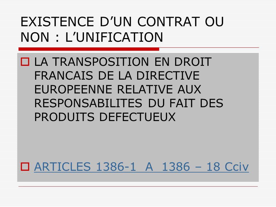 EXISTENCE DUN CONTRAT OU NON : LUNIFICATION LA TRANSPOSITION EN DROIT FRANCAIS DE LA DIRECTIVE EUROPEENNE RELATIVE AUX RESPONSABILITES DU FAIT DES PRO