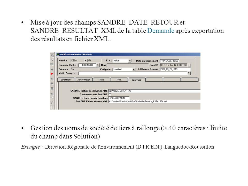 Mise à jour des champs SANDRE_DATE_RETOUR et SANDRE_RESULTAT_XML de la table Demande après exportation des résultats en fichier XML. Gestion des noms