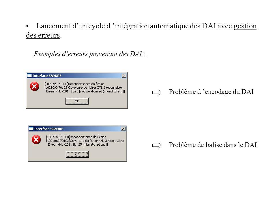 Problème d encodage du DAI Problème de balise dans le DAI Lancement dun cycle d intégration automatique des DAI avec gestion des erreurs. Exemples der