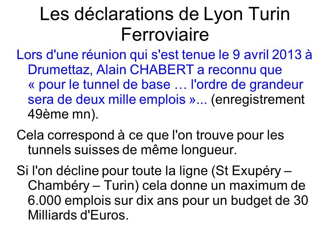 Les déclarations de Lyon Turin Ferroviaire Lors d une réunion qui s est tenue le 9 avril 2013 à Drumettaz, Alain CHABERT a reconnu que « pour le tunnel de base … l ordre de grandeur sera de deux mille emplois »...