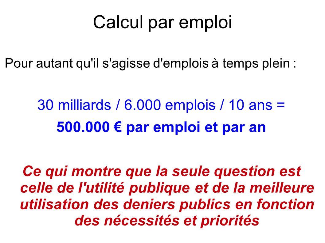 Calcul par emploi Pour autant qu il s agisse d emplois à temps plein : 30 milliards / 6.000 emplois / 10 ans = 500.000 par emploi et par an Ce qui montre que la seule question est celle de l utilité publique et de la meilleure utilisation des deniers publics en fonction des nécessités et priorités