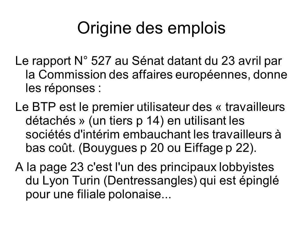 Origine des emplois Le rapport N° 527 au Sénat datant du 23 avril par la Commission des affaires européennes, donne les réponses : Le BTP est le premier utilisateur des « travailleurs détachés » (un tiers p 14) en utilisant les sociétés d intérim embauchant les travailleurs à bas coût.