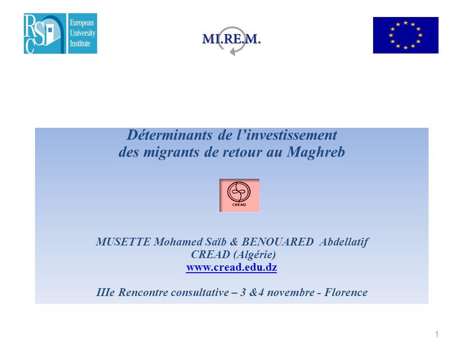 Déterminants de linvestissement des migrants de retour au Maghreb MUSETTE Mohamed Saïb & BENOUARED Abdellatif CREAD (Algérie) www.cread.edu.dz IIIe Re