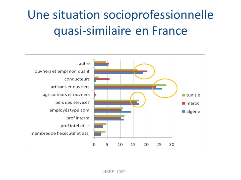 Une situation socioprofessionnelle quasi-similaire en France INSEE, 1999