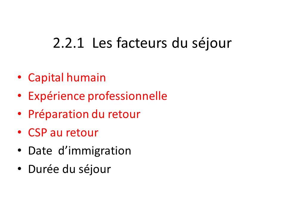 2.2.1 Les facteurs du séjour Capital humain Expérience professionnelle Préparation du retour CSP au retour Date dimmigration Durée du séjour