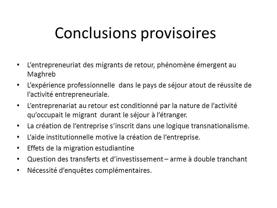 Conclusions provisoires Lentrepreneuriat des migrants de retour, phénomène émergent au Maghreb Lexpérience professionnelle dans le pays de séjour atou