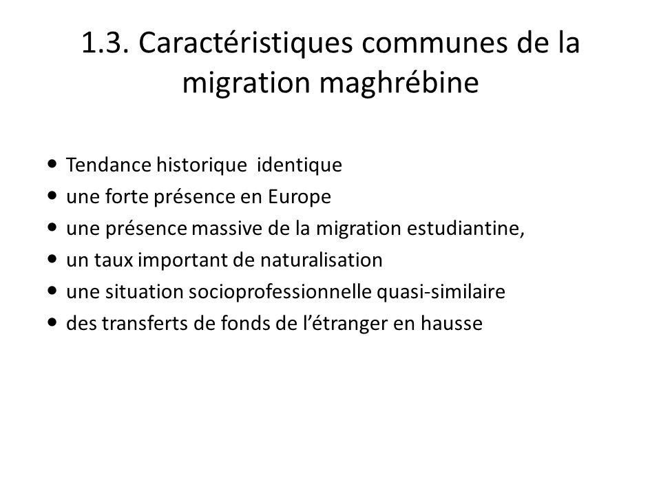 1.3. Caractéristiques communes de la migration maghrébine Tendance historique identique une forte présence en Europe une présence massive de la migrat