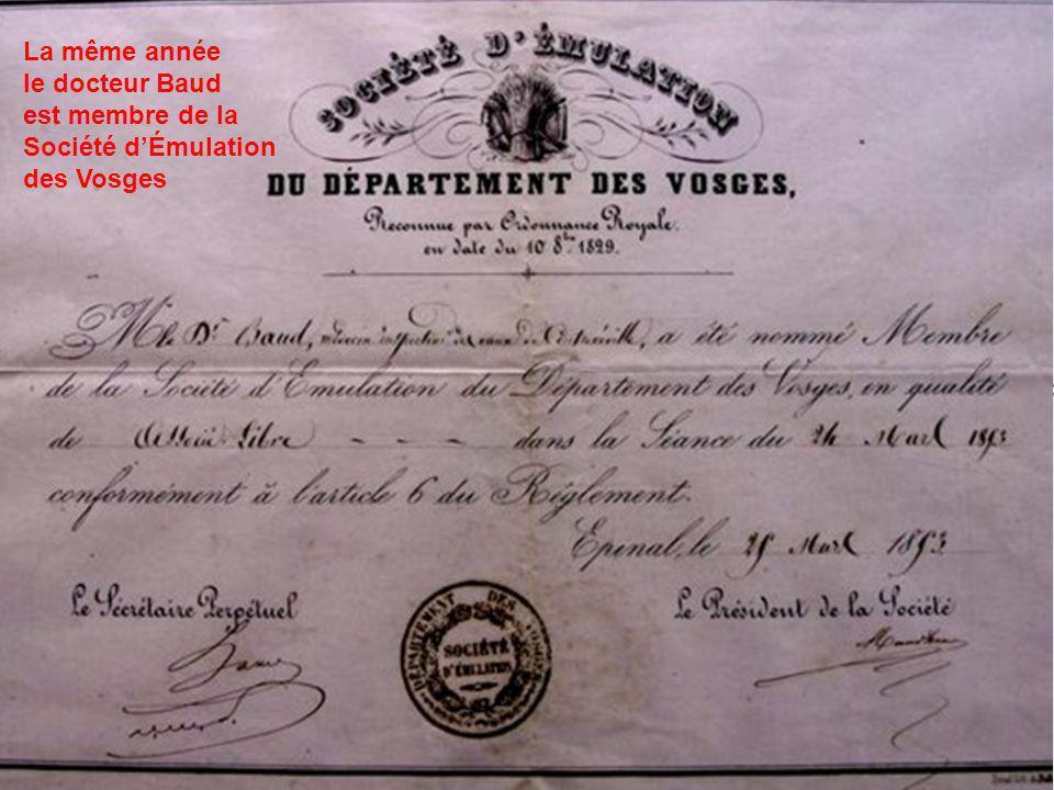 1853, quatrième cure de Bouloumié La même année le docteur Baud est membre de la Société dÉmulation des Vosges