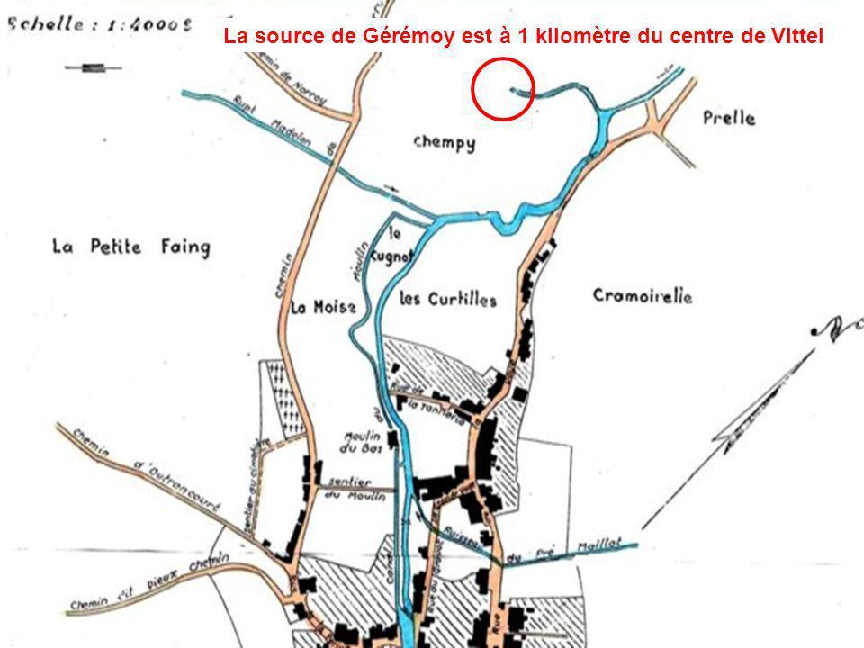 Leau minérale est connue à Vittel comme le précise ce plan de 1777 La source de Gérémoy est à 1 kilomètre du centre de Vittel