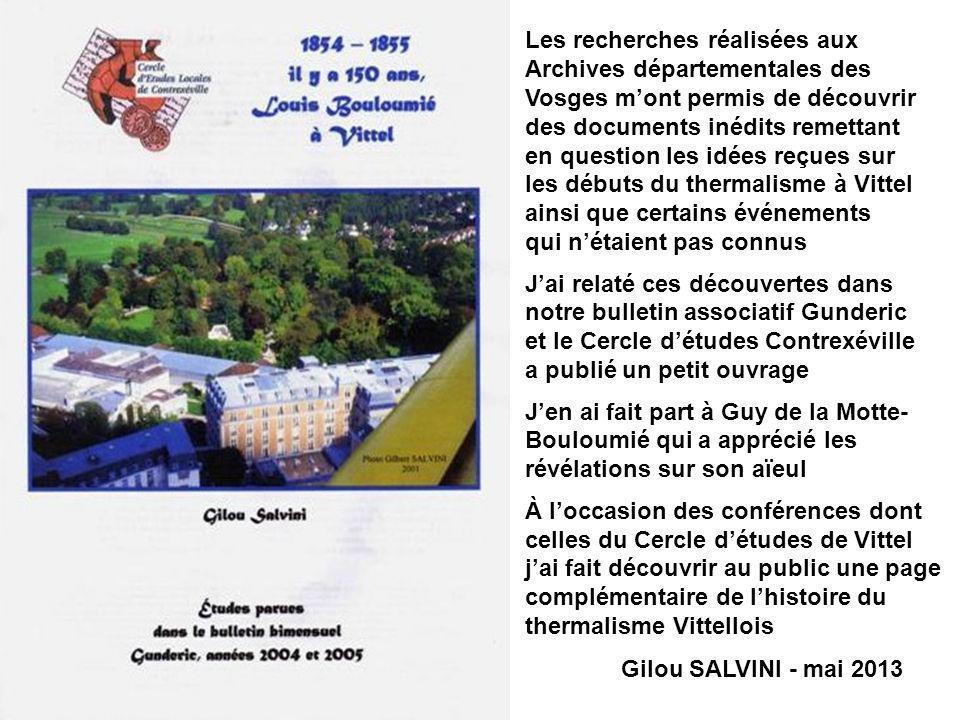 Les recherches réalisées aux Archives départementales des Vosges mont permis de découvrir des documents inédits remettant en question les idées reçues