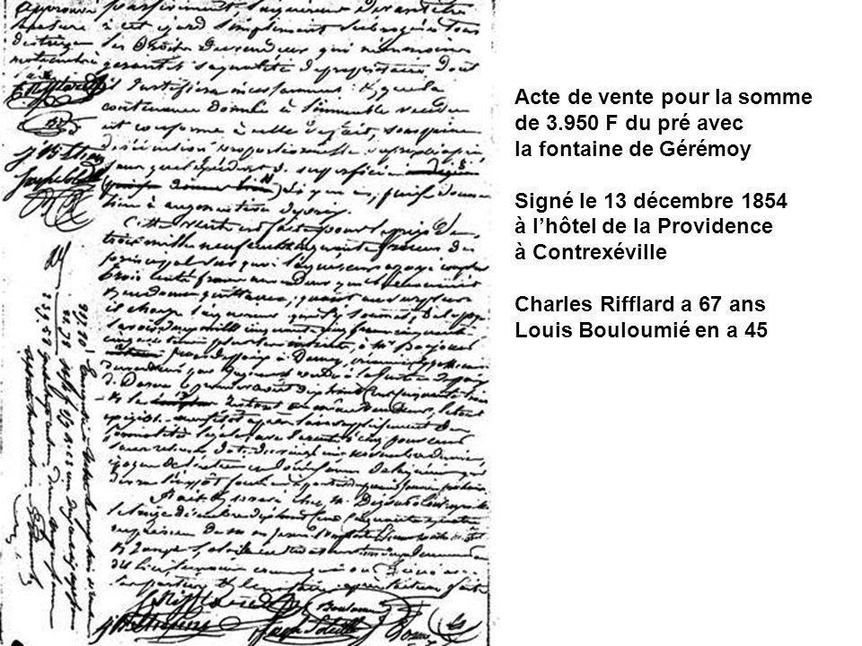 Acte de vente pour la somme de 3.950 F du pré avec la fontaine de Gérémoy Signé le 13 décembre 1854 à lhôtel de la Providence à Contrexéville Charles