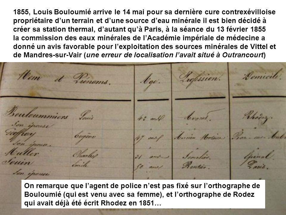 1855, Louis Bouloumié arrive le 14 mai pour sa dernière cure contrexévilloise propriétaire dun terrain et dune source deau minérale il est bien décidé