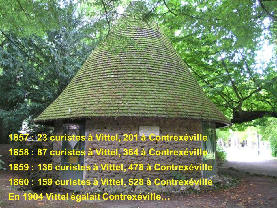 1857 : 23 curistes à Vittel, 201 à Contrexéville 1858 : 87 curistes à Vittel, 364 à Contrexéville 1859 : 136 curistes à Vittel, 478 à Contrexéville 18