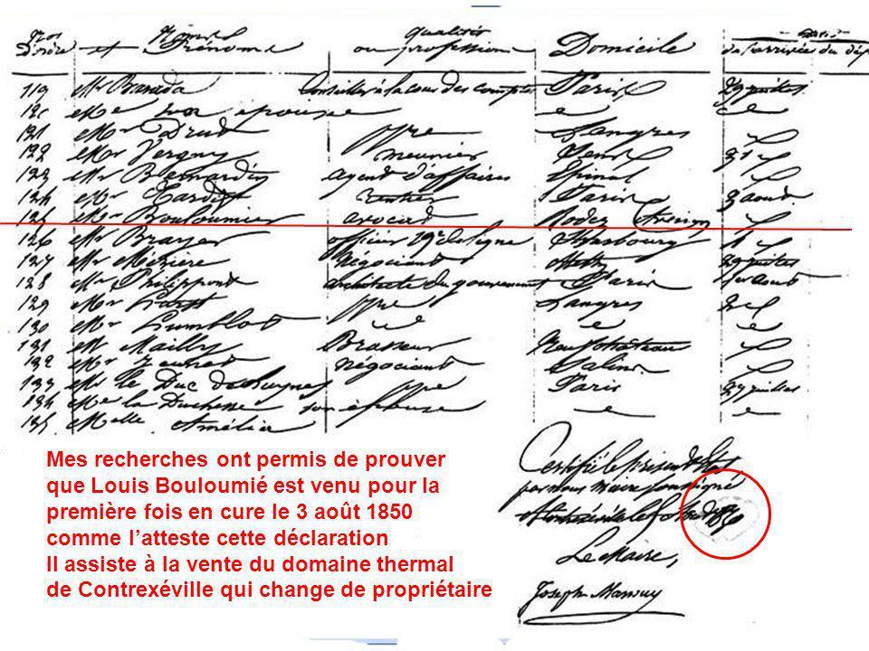 Durant les séjours quil fera à Contrexéville, Louis Bouloumié aura de pénibles déplacements à faire en calèche, depuis son domicile de Rodez, depuis chez sa femme à Toulouse ou encore de chez son beau frère à Paris… Pour les six cures quil fera à Contrexéville, de 1850 à 1855 Louis Bouloumié descendra à lhôtel de la Providence