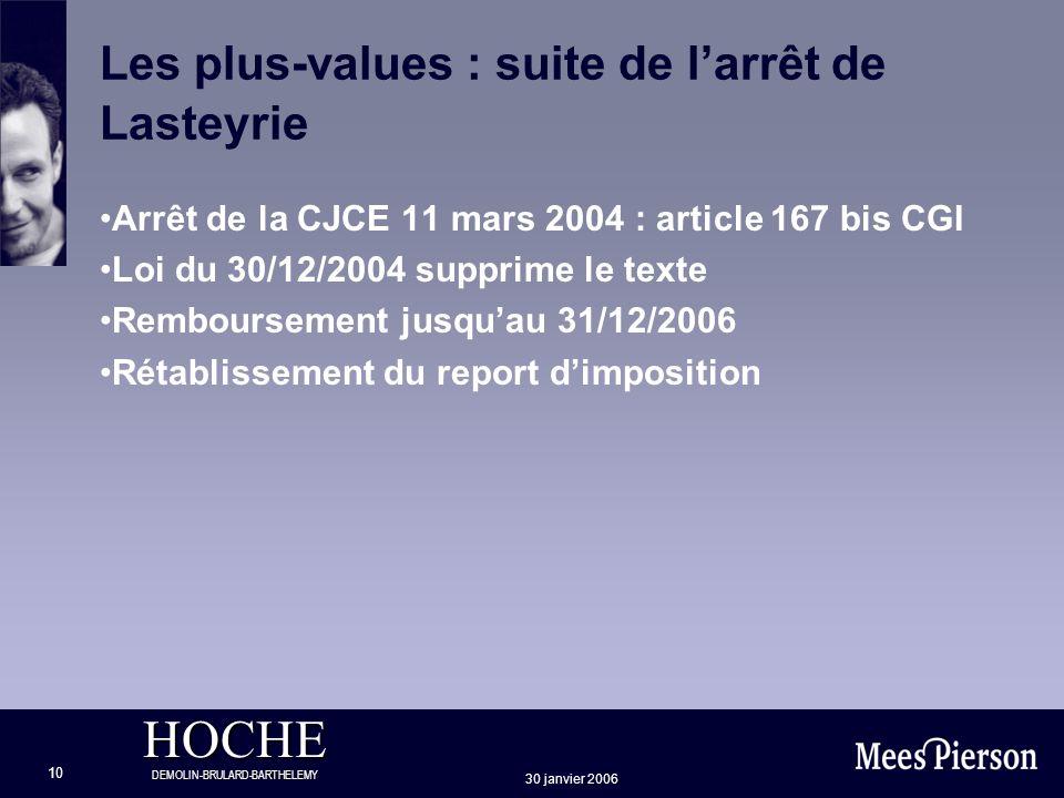 HOCHE DEMOLIN-BRULARD-BARTHELEMY 30 janvier 2006 10 Les plus-values : suite de larrêt de Lasteyrie Arrêt de la CJCE 11 mars 2004 : article 167 bis CGI