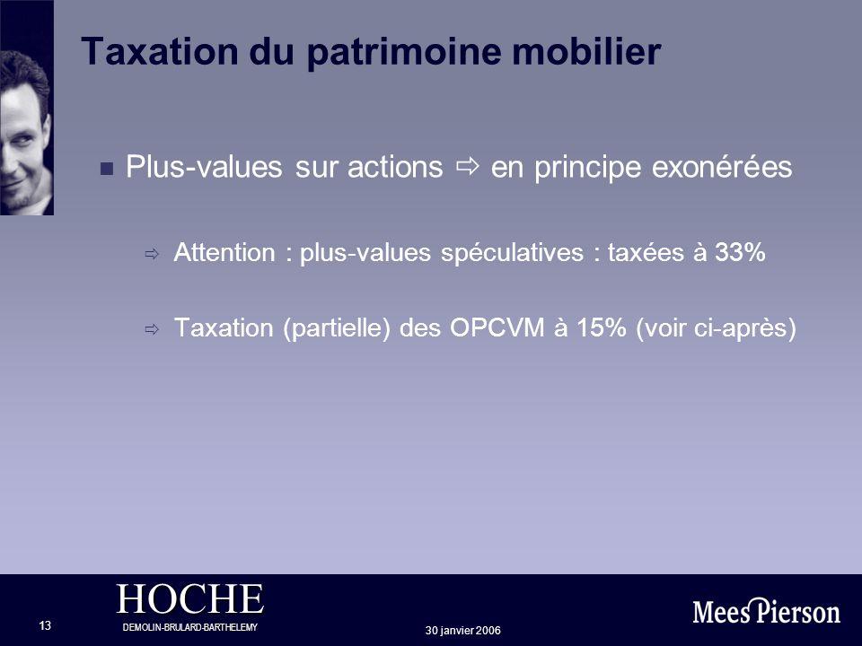 HOCHE DEMOLIN-BRULARD-BARTHELEMY 30 janvier 2006 13 Taxation du patrimoine mobilier Plus-values sur actions en principe exonérées Attention : plus-val
