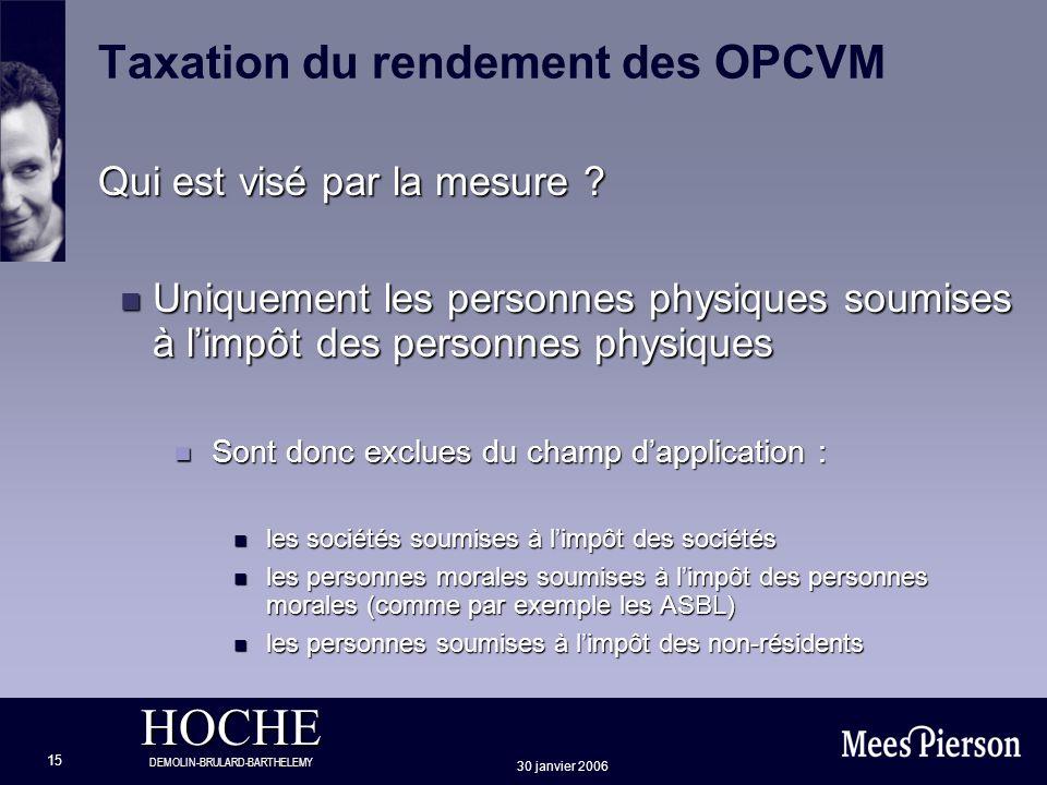 HOCHE DEMOLIN-BRULARD-BARTHELEMY 30 janvier 2006 15 Taxation du rendement des OPCVM Qui est visé par la mesure ? n Uniquement les personnes physiques