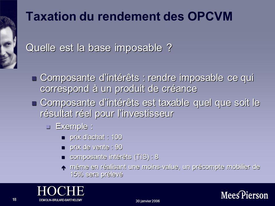 HOCHE DEMOLIN-BRULARD-BARTHELEMY 30 janvier 2006 18 Taxation du rendement des OPCVM Quelle est la base imposable ? n Composante dintérêts : rendre imp