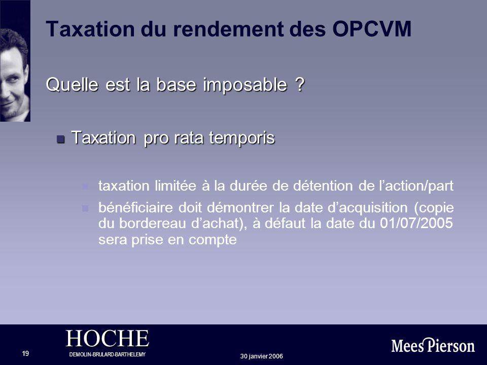 HOCHE DEMOLIN-BRULARD-BARTHELEMY 30 janvier 2006 19 Taxation du rendement des OPCVM Quelle est la base imposable ? n Taxation pro rata temporis n taxa