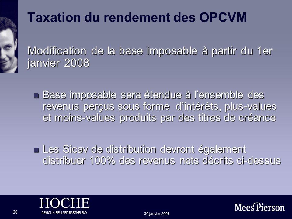 HOCHE DEMOLIN-BRULARD-BARTHELEMY 30 janvier 2006 20 Taxation du rendement des OPCVM Modification de la base imposable à partir du 1er janvier 2008 n B