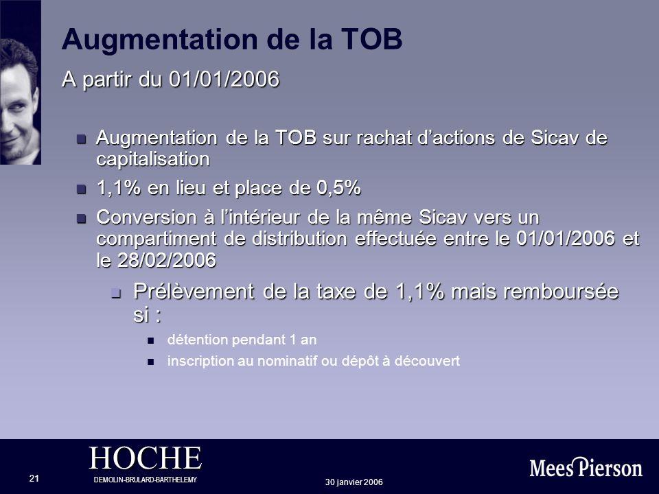 HOCHE DEMOLIN-BRULARD-BARTHELEMY 30 janvier 2006 21 Augmentation de la TOB A partir du 01/01/2006 n Augmentation de la TOB sur rachat dactions de Sica