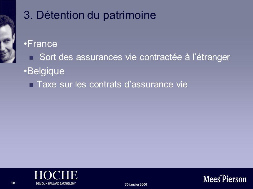 HOCHE DEMOLIN-BRULARD-BARTHELEMY 30 janvier 2006 28 3. Détention du patrimoine France n Sort des assurances vie contractée à létranger Belgique n Taxe