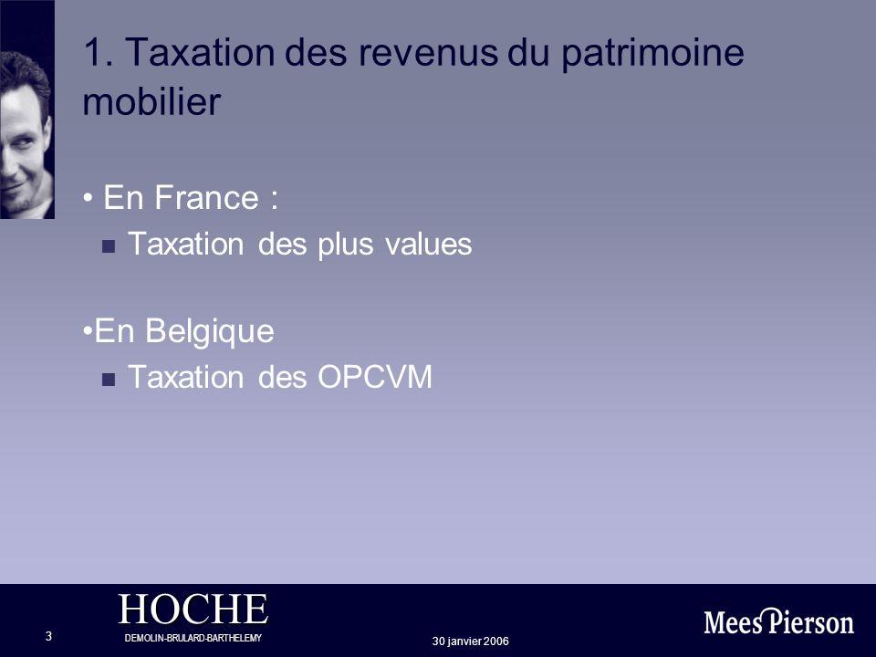 HOCHE DEMOLIN-BRULARD-BARTHELEMY 30 janvier 2006 3 1. Taxation des revenus du patrimoine mobilier En France : n Taxation des plus values En Belgique n