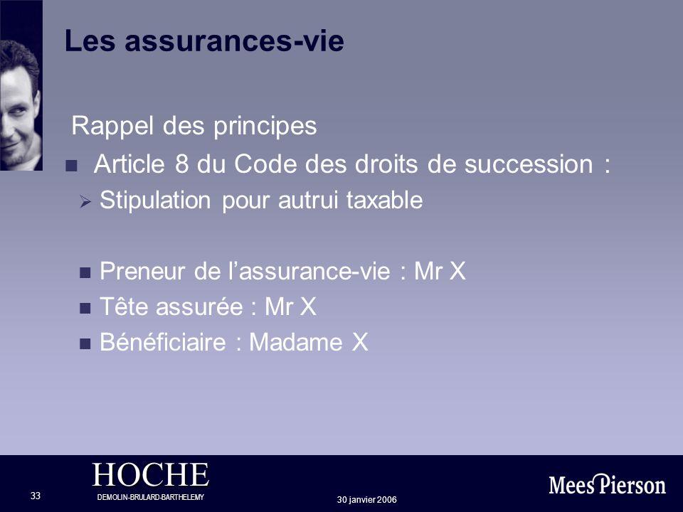 HOCHE DEMOLIN-BRULARD-BARTHELEMY 30 janvier 2006 33 Les assurances-vie Rappel des principes n Article 8 du Code des droits de succession : Stipulation