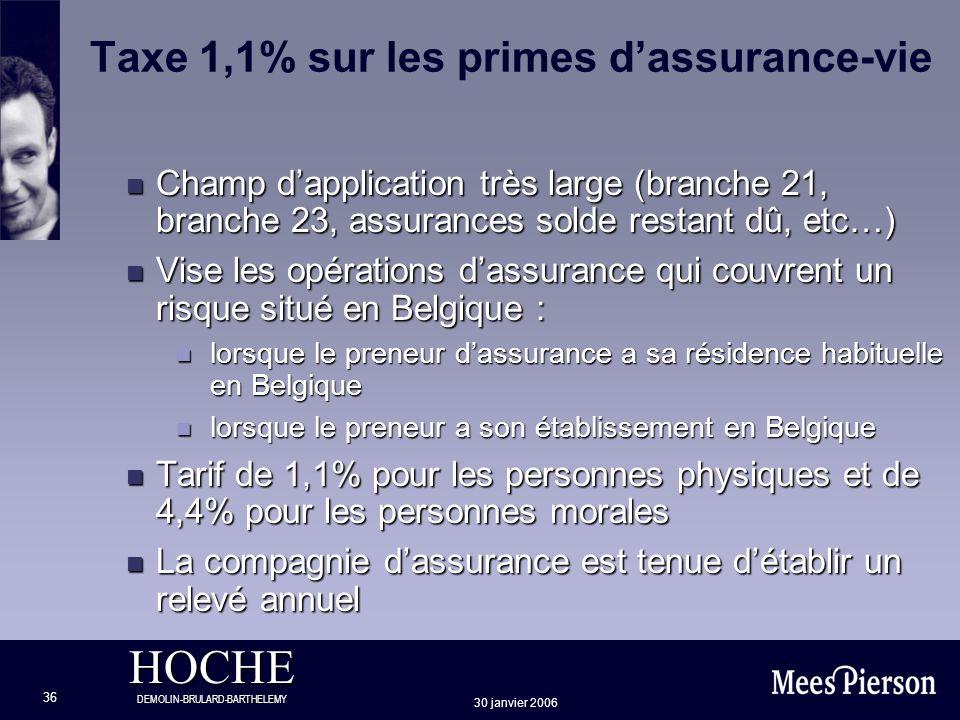 HOCHE DEMOLIN-BRULARD-BARTHELEMY 30 janvier 2006 36 Taxe 1,1% sur les primes dassurance-vie n Champ dapplication très large (branche 21, branche 23, a