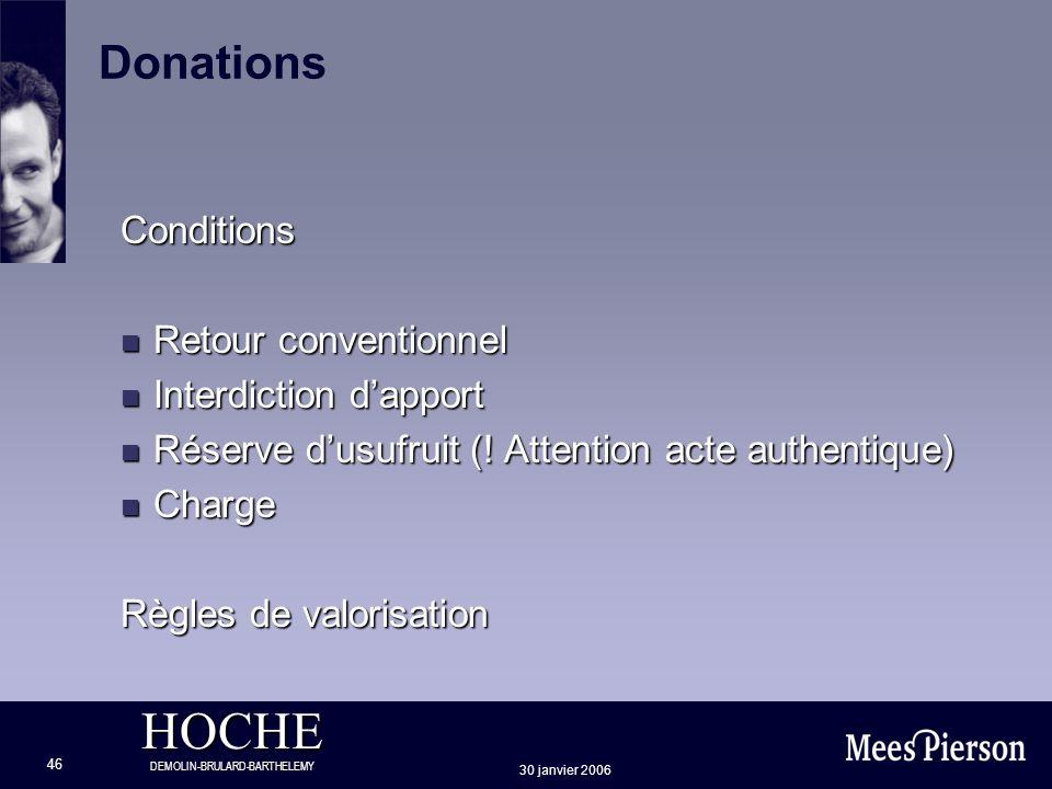 HOCHE DEMOLIN-BRULARD-BARTHELEMY 30 janvier 2006 46 Donations Conditions n Retour conventionnel n Interdiction dapport n Réserve dusufruit (! Attentio