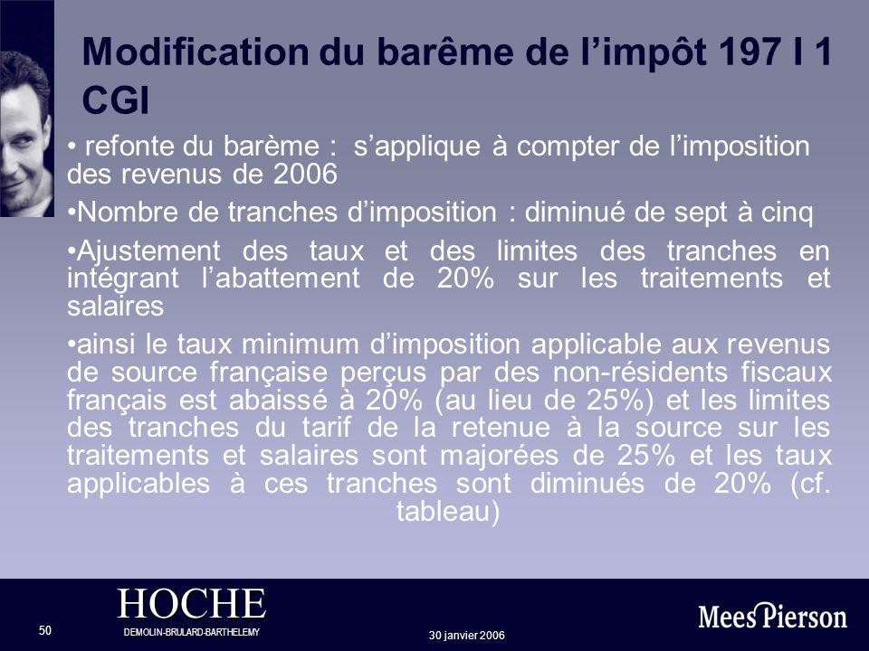 HOCHE DEMOLIN-BRULARD-BARTHELEMY 30 janvier 2006 50 Modification du barême de limpôt 197 I 1 CGI refonte du barème : sapplique à compter de limpositio