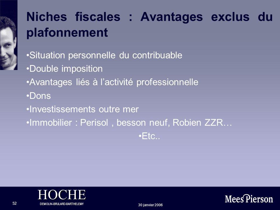 HOCHE DEMOLIN-BRULARD-BARTHELEMY 30 janvier 2006 52 Niches fiscales : Avantages exclus du plafonnement Situation personnelle du contribuable Double im