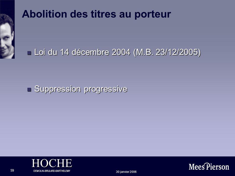 HOCHE DEMOLIN-BRULARD-BARTHELEMY 30 janvier 2006 59 Abolition des titres au porteur n Loi du 14 décembre 2004 (M.B. 23/12/2005) n Suppression progress