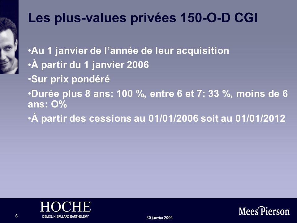 HOCHE DEMOLIN-BRULARD-BARTHELEMY 30 janvier 2006 6 Les plus-values privées 150-O-D CGI Au 1 janvier de lannée de leur acquisition À partir du 1 janvie