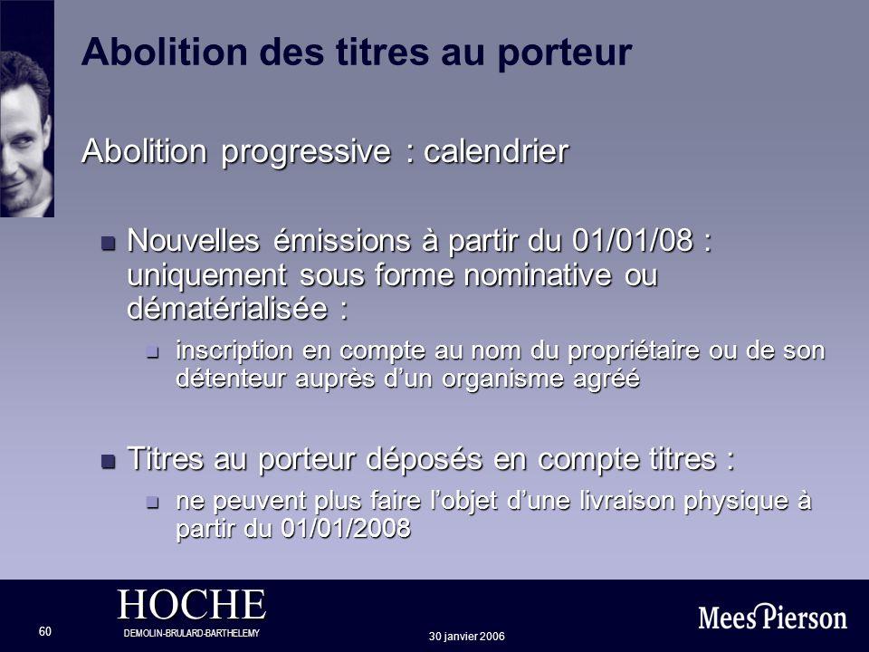 HOCHE DEMOLIN-BRULARD-BARTHELEMY 30 janvier 2006 60 Abolition progressive : calendrier n Nouvelles émissions à partir du 01/01/08 : uniquement sous fo