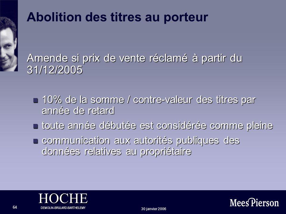 HOCHE DEMOLIN-BRULARD-BARTHELEMY 30 janvier 2006 64 Amende si prix de vente réclamé à partir du 31/12/2005 n 10% de la somme / contre-valeur des titre